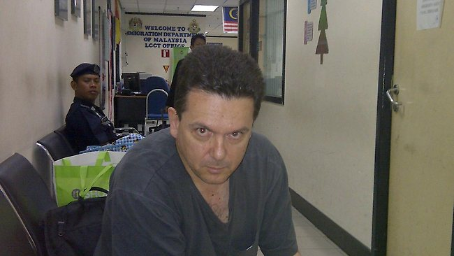 Senator Nick Xenophon being detained at Kuala Lumpur's International Airport in Malaysia. Picture: Office of Nick Xenophon