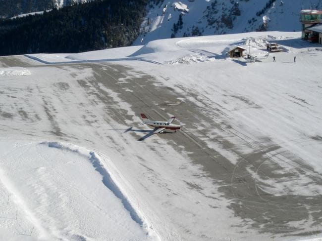 A plane taxiing at Courchevel Altiport in France. Picture: Flickr/Peter Robinett