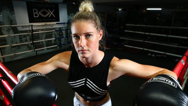Tayla Harris training at Corporate Box Gym. Picture: Liam Kidston