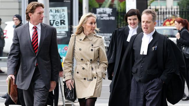 Essendon vs ASADA continues. James Hird and his wife Tania arrive with his legal team at the Federal Court Picture: Norm Oorloff