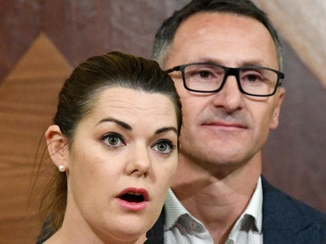Greens' Senator Sarah Hanson-Young has accused Pauline Hanson of helping Islamic State extremists by fuelling hatred in Australia. Picture: AAP