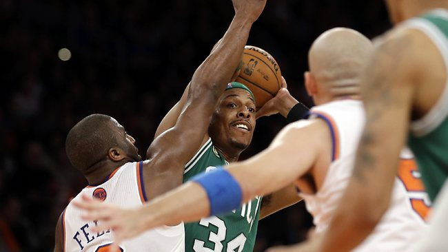 Boston Celtics forward Paul Pierce (34) looks to pass as New York Knicks guard Raymond Felton (2) defends in the second half of Game 1 of the NBA basketball playoffs in New York. The Knicks won 85-78. Picture: Kathy Willens