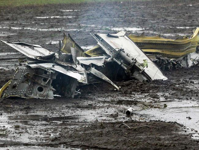 No survivors ... Russia's Emergency Ministry shows parts of the Flydubai crashed passengers' jet at the airport in Rostov-on-Don. Picture: AFP