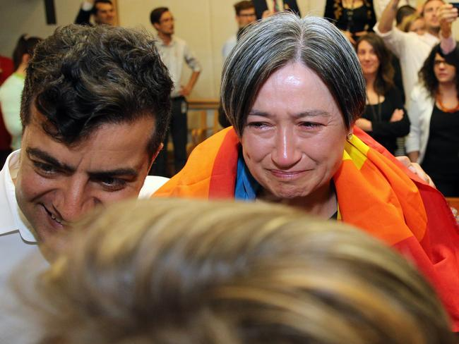 The same-sex marriage vote was watched by a very emotional Senator Penny Wong and the politicians from all parties in Parliament House in Canberra. Picture Gary Ramage