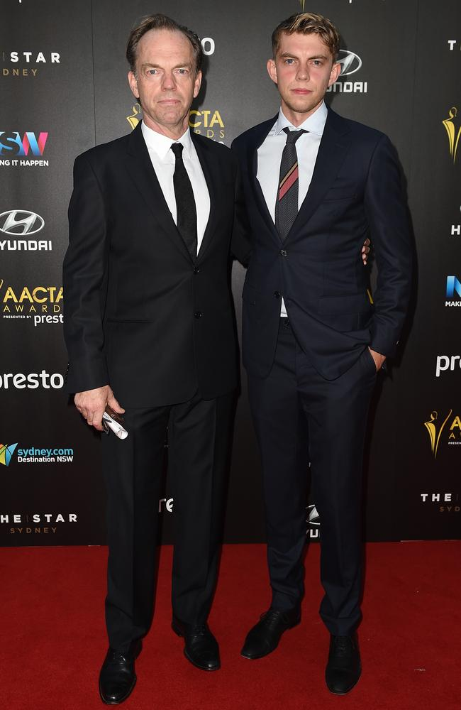 Hugo Weaving and son Harry Greenwood arrive ahead of the 5th AACTA Awards Presented by Presto at The Star on December 9, 2015 in Sydney, Australia. Picture: AAP