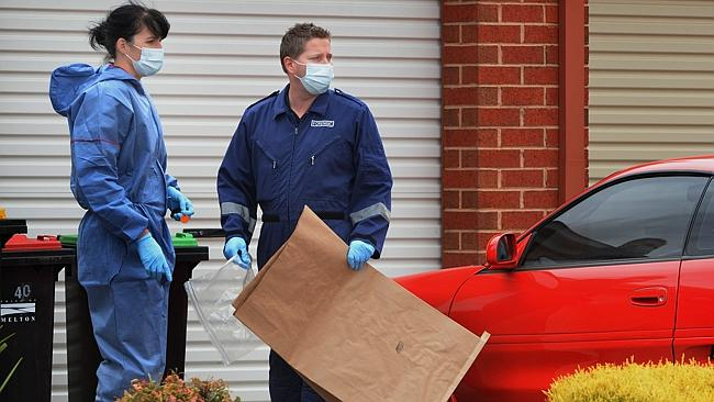 Murder in Phillip St, South Melton. Police forensic team at the crime scene. Picture Tony Gough