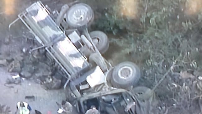 An areial shot of the overturned vehicle. Picture: Sky News