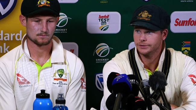 Cameron Bancroft and Steve Smith. Picture: AFP