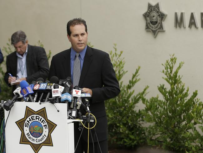 Lt. Keith Boyd, assistant chief deputy coroner for the Marin County Sheriff's Office, speaks at a news conference about the death of Robin Williams in San Rafael, California. Picture: Jeff Chiu