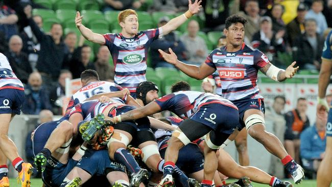 Rebels in action, during the Round 8 Super Rugby match between the Melbourne Rebels and the Brumbies at AAMI Park in Melbourne, Saturday, April 15, 2017. (AAP Image/Joe Castro) NO ARCHIVING, EDITORIAL USE ONLY