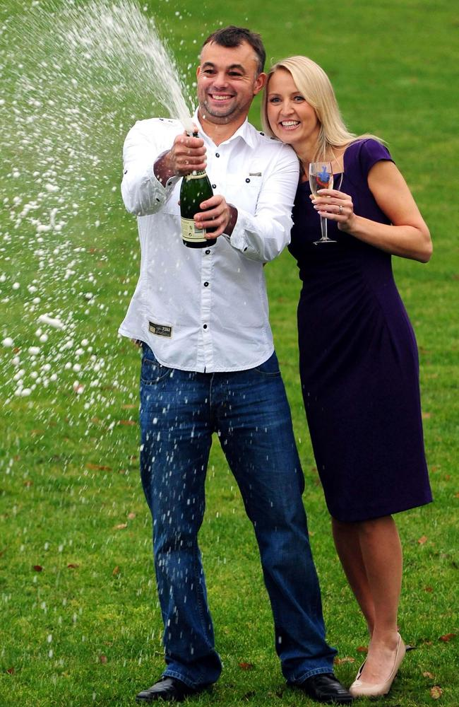 Gareth pictured with his wife Catherine when he won the Euromillions in 2012. Picture: Rui Vieira/PA Wire