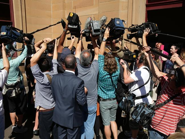 This huge media scrum was pictured waiting for the verdict of Simon Gittany's trial on November 27. Picture: News Corp Australia