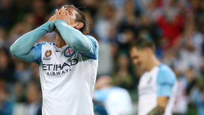 Melbourne City's Nick Fitzgerald rues a missed chance on Sunday night.