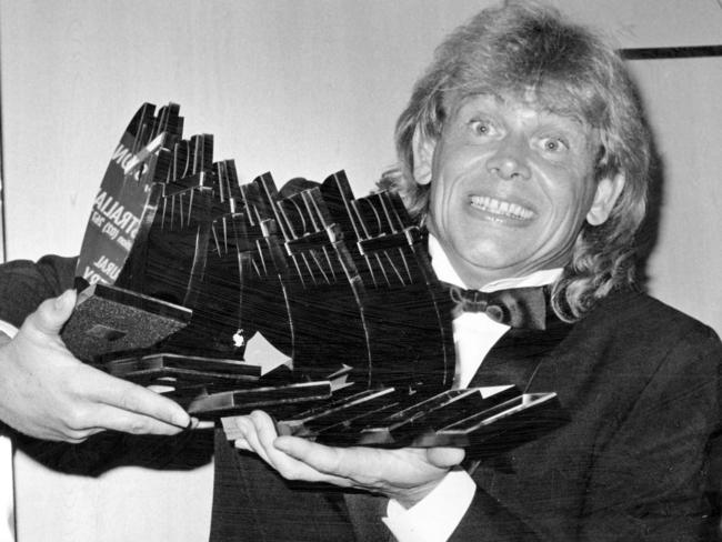 Farnham with his haul of six trophies at the first ARIA Awards in 1987. Picture: Supplied