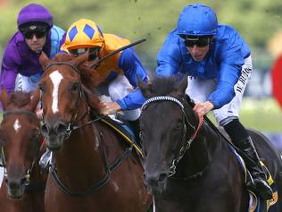 Spectroscope ridden by William Buick (right) wins the Schweppes Handicap race during Ladies Day at Rosehill Racecourse in Sydney, Saturday, March 11, 2017. (AAP Image/David Moir) NO ARCHIVING, EDITORIAL USE ONLY