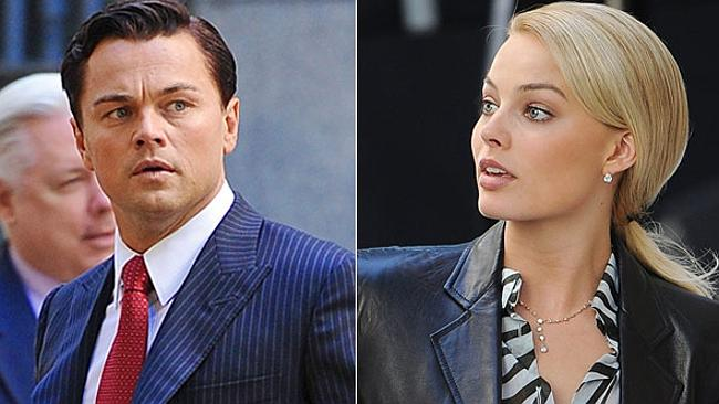 Leonardo DiCaprio and Margot Robbie on the set of Wolf Of Wall Street. Picture: Splash