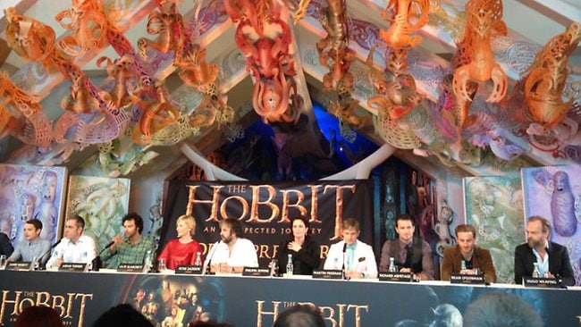 The cast and crew of The Hobbit: An Unexpected Journey attend a press conference in Wellington, New Zealand. Picture: Supplied
