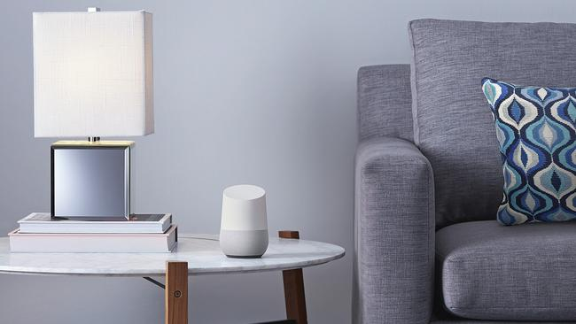 The Google Home speaker connects to your Google account and the internet and responds to commands. Picture: Supplied