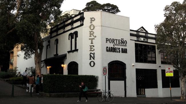 Pictured is Porteno Restaurant and Gardel's Bar in Surry Hills today.