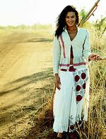 <p>Model Megan Gale models outfit from David Jones spring-summer catalogue, 2003.</p>