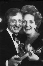 Joint  Winners of the Gold Logie Award 1974. TV personality and actor Graham Kennedy from the TV show; The Graham Kennedy Show and actor Pat McDonald from the TV show Number 96 holding their Gold Logie awards.