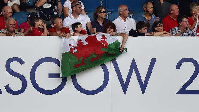 Wales fans are seen during the Rugby Sevens pool matches at Ibrox Stadium.