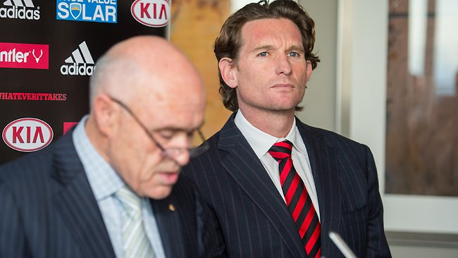 Chairman Paul Little and coach James Hird were defiant at the Bombers' press conference. Picture: Stuart Walmsley