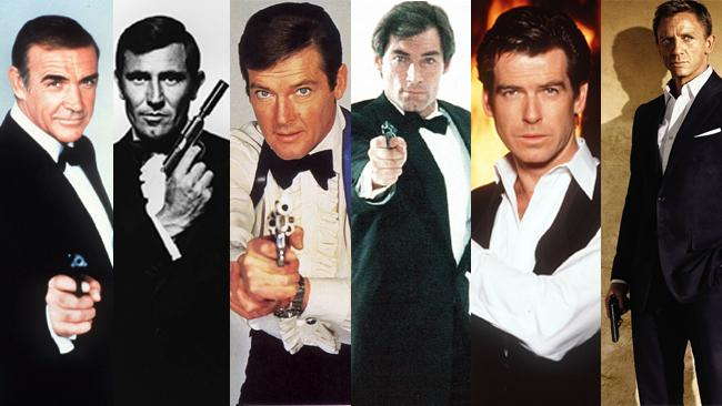 The James Bond franchise is celebrating 50 years; the actors who have played Bond, from left, are Sean Connery, George Lazenby, Roger Moore, Timothy Dalton, Pierce Brosnan and Daniel Craig.