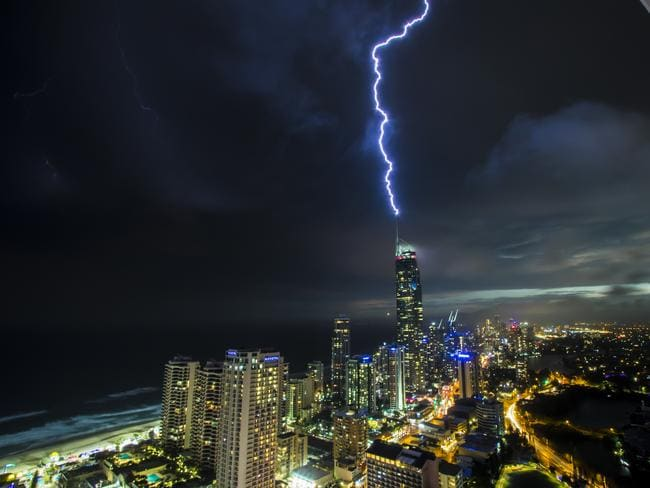 Lightning strikes the Q1 tower on the Gold Coast during Sunday night's storm. Picture: Bryce Forrest/Severe Weather Australia