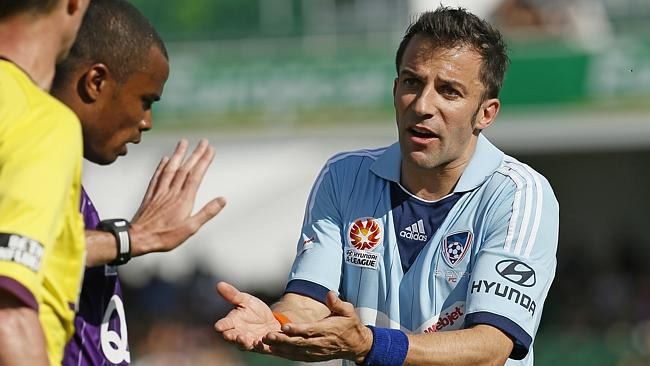 Alessandro Del Piero of Sydney FC argues with the referee during the loss to Perth Glory.