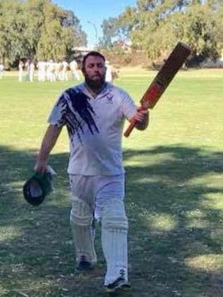West Augusta batsman Josh Dunstan leaves the field after scoring 307 in 34 overs against Central-Stirling at Braddock Park. Picture: ABC North West