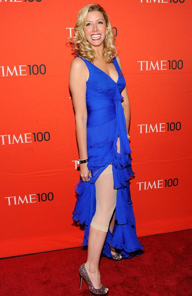 Spanx shapewear founder Sara Blakely showing off her underwear at the 2012 TIME 100 gala. Picture: AP Photo/Evan Agostini