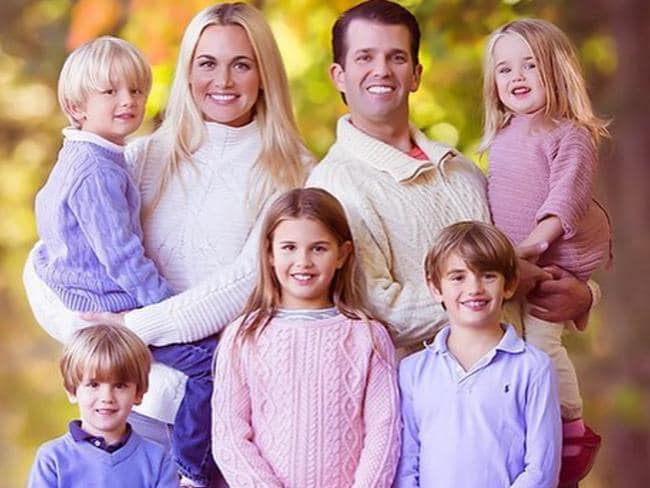 L-R — back row — Tristan, Vanessa Trump, Donald Trump Jr (son), Chloe. Front row Spencer, Kai and Donald Trump III. Picture: Supplied