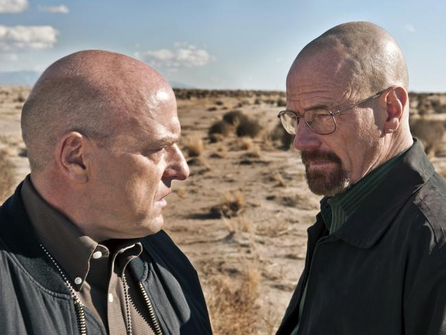 Dean Norris as Hank Schrader and Bryan Cranston as Walter White in  <i>Breaking Bad</i>. Picture: AP