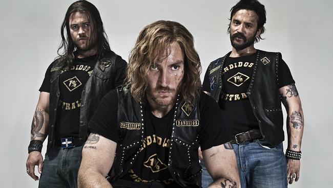 From left: Luke Hemsworth with Callan Mulvey and Damian Walshe-Howling in TV miniseries 'Bikie Wars: Brothers In Arms.