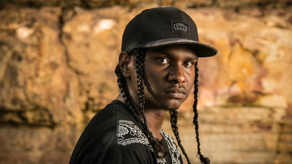 Rapper Danzal Baker, aka Baker Boy, at the NT Song of the Year awards. Picture: GLENN CAMPBELL