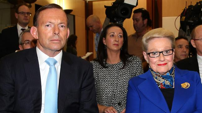 Happier times ... Bronwyn Bishop was picked by former Prime Minister Tony Abbott to be speaker. Picture: Gary Ramage