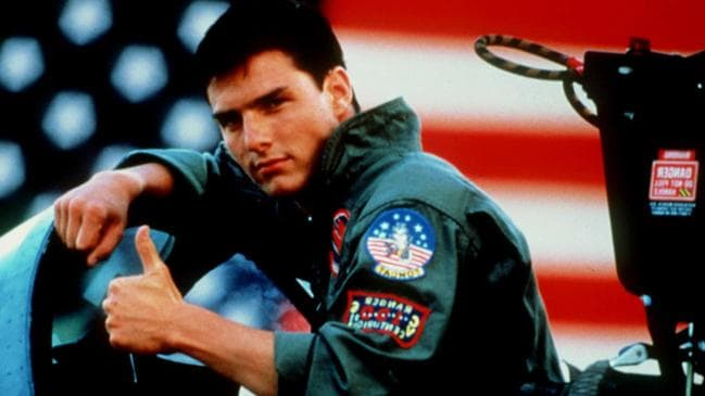 A young Tom Cruise in his classic film Top Gun.