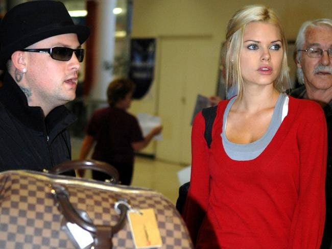 'I'd never go back' ... Monk and former fiance Benji Madden from band Good Charlotte fly in from LA.
