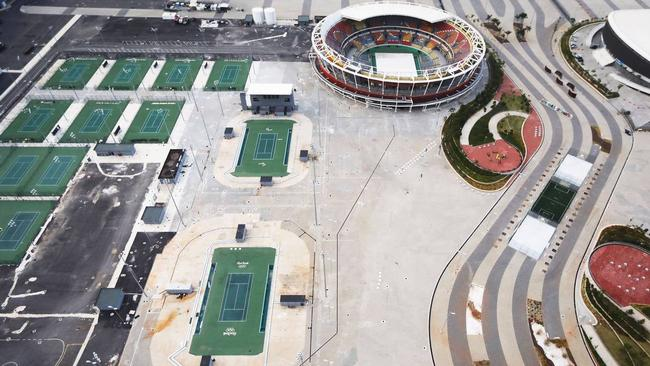 A year on from the Rio Olympics, many of the city's Olympic venues have been abandoned, including this tennis facility. Picture: Mario Tama / Getty Images