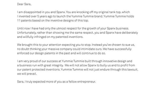 An open letter from Yummie Tummie founder Heather Thomson to Spanx's Sara Blakely, posted on March 14. Picture: Screengrab
