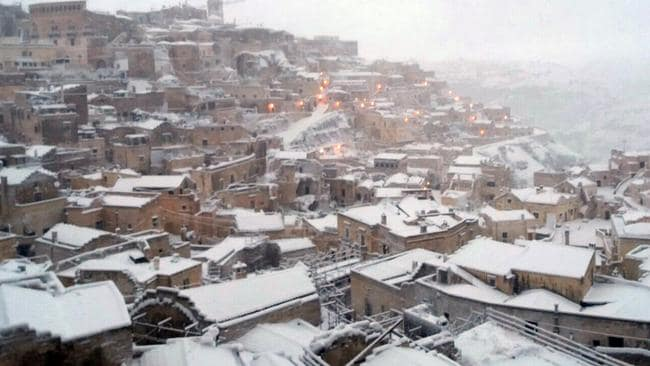 Salento in southern Italy is uncharacteristically blanketed in snow, in line with a disturbing prediction made centuries ago.