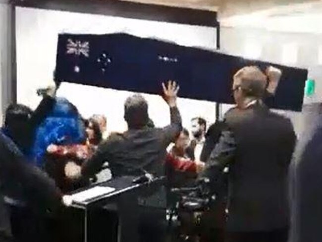 Far-Right protesters stormed a Moreland council meeting recently over the Australia Day issue. Picture: Emma Hastings