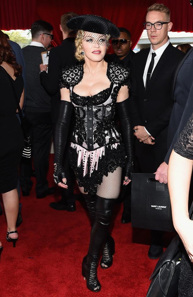 Cher-inspired? Madonna and Diplo on the red carpet. Picture: Larry Busacca/Getty Images for NARAS