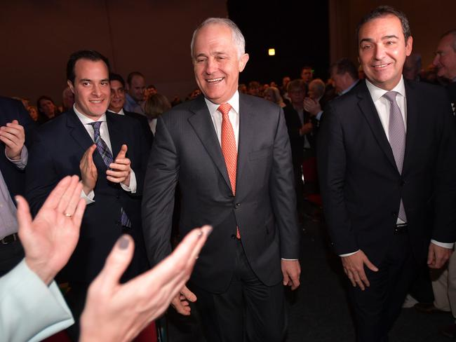Prime Minister Malcolm Turnbull and with state Liberal leader Steven Marshall at the Adelaide Convention Centre. AAP Image/David Mariuz