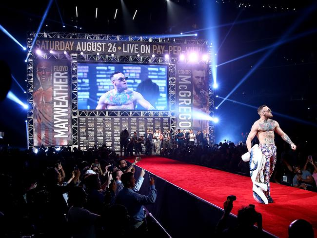 Conor McGregor is introduced during the Floyd Mayweather Jr. v Conor McGregor World Press Tour.