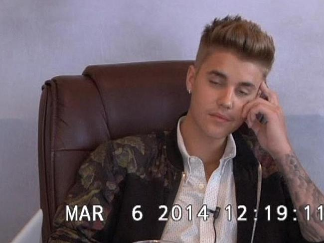 """""""Ungrateful""""...Pop star Justin Bieber struggles to stay awake during his infamous video deposition. Picture: Supplied"""