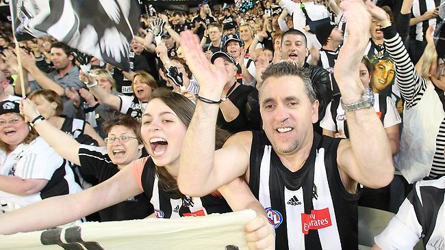 Collingwood fans get into the spirit of the game. Picture: Rob Leeson