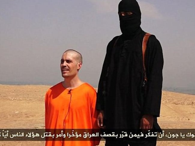 Shocking ... IS militants released video showing the beheading of US journalist James Foley. Picture: Supplied