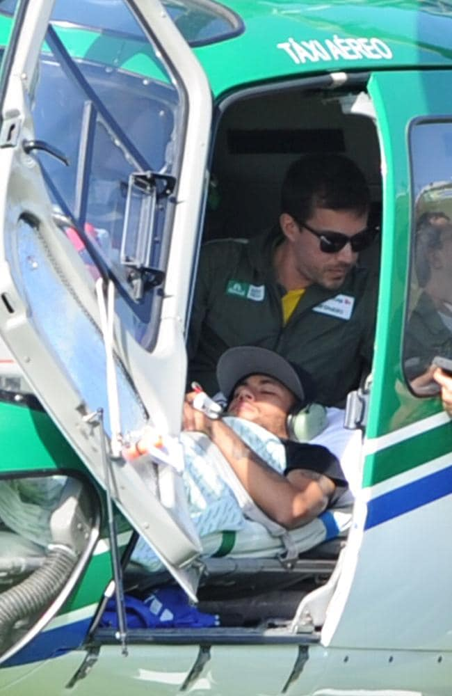 Neymar heads back to Rio in a helicopter.